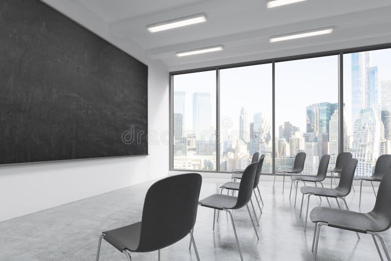 Uma sala de aula ou uma sala de apresentação em uma universidade ou em um escritório moderno da fantasia Cadeiras pretas, um quad ilustração royalty free