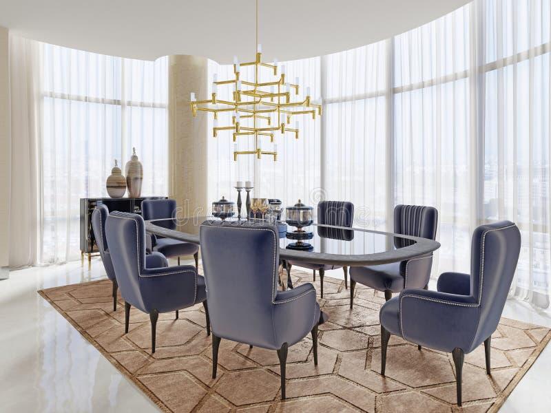 Uma sala de reunião no estilo do art deco com uma grande tabela e umas cadeiras macias luxuosos ilustração do vetor
