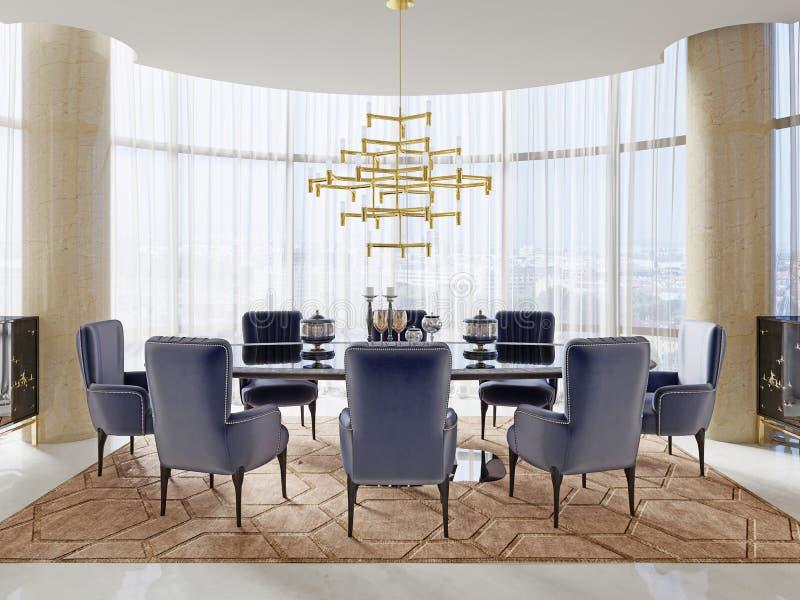 Uma sala de reunião no estilo do art deco com uma grande tabela e umas cadeiras macias luxuosos ilustração royalty free
