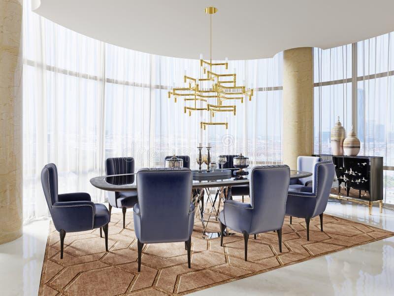 Uma sala de reunião no estilo do art deco com uma grande tabela e umas cadeiras macias luxuosos ilustração stock