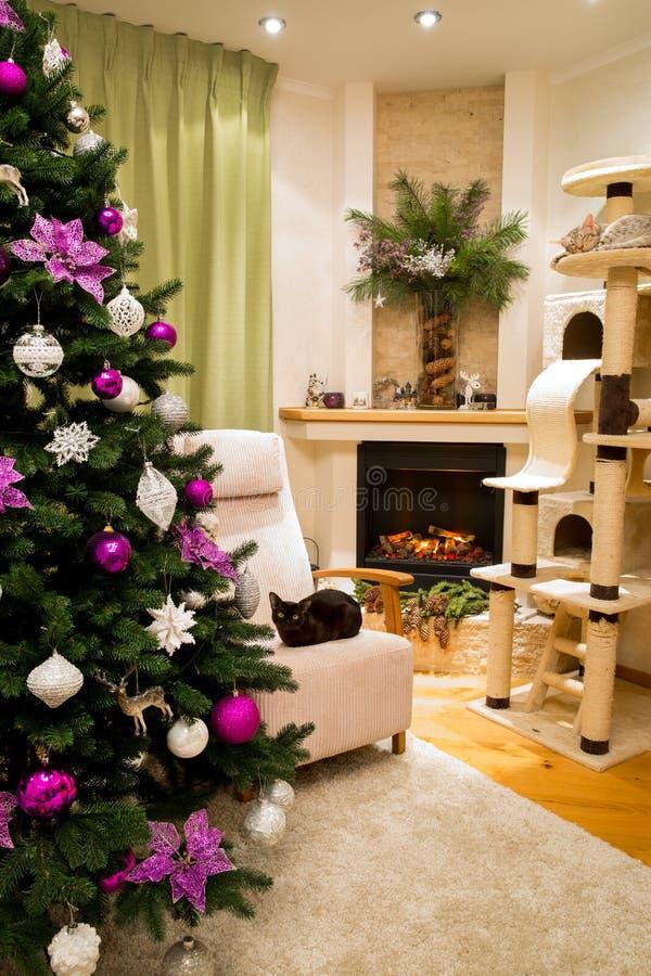 Uma sala de visitas acolhedor decorada para comemorar o Natal e o ano novo foto de stock royalty free