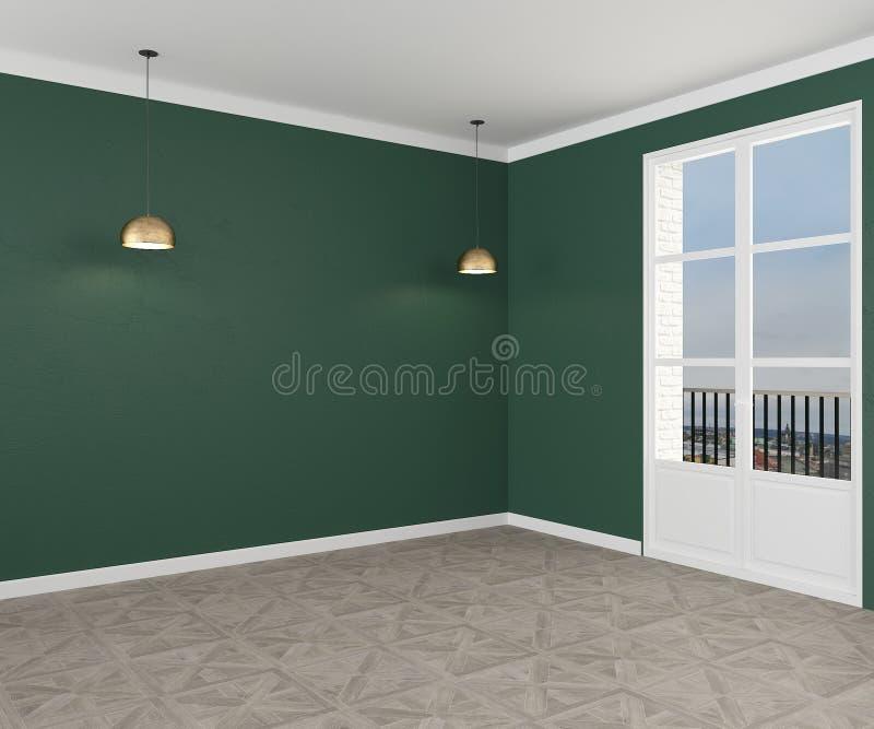 Uma sala vazia com paredes verdes e duas lâmpadas Vista lateral rendi??o 3d ilustração stock