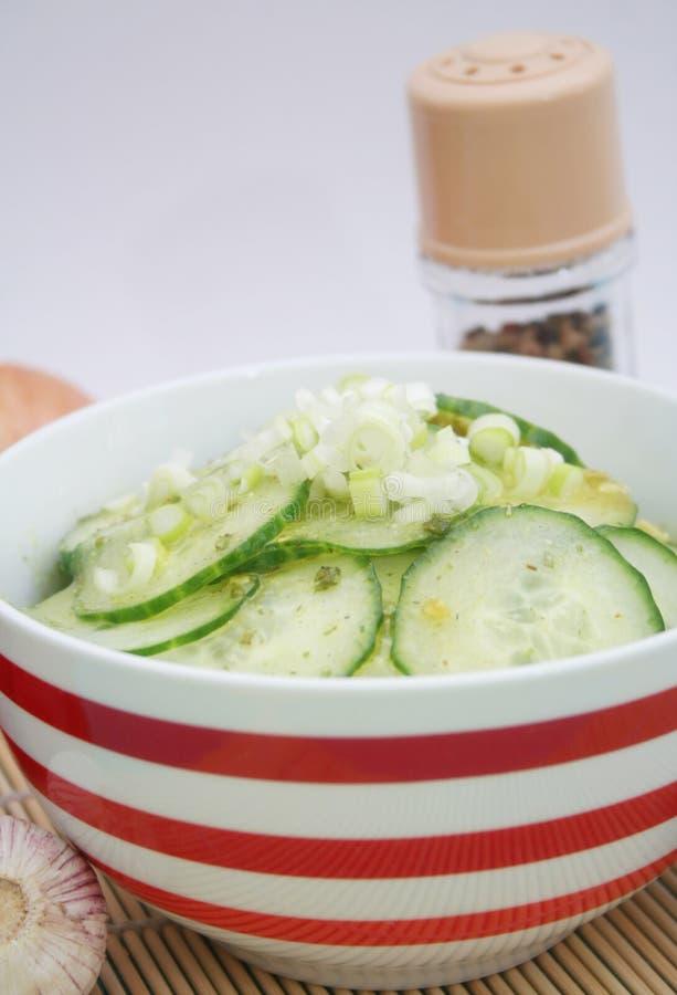 Uma salada fresca dos pepinos fotografia de stock