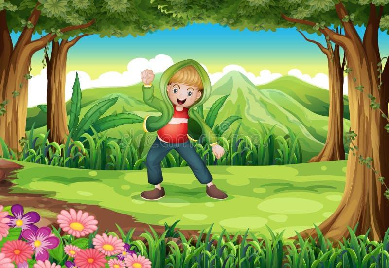 Uma selva com uma dança do menino ilustração do vetor