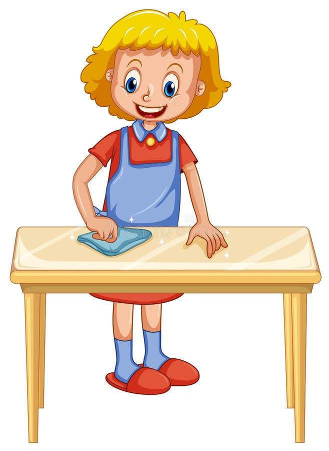 Uma senhora Cleaning Table no fundo branco ilustração stock