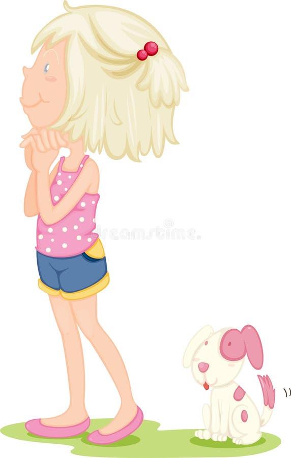 Uma senhora Com um cão ilustração stock