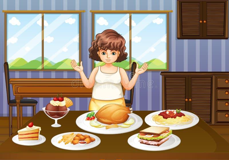Uma senhora gorda na frente de uma tabela com muitos alimentos ilustração do vetor