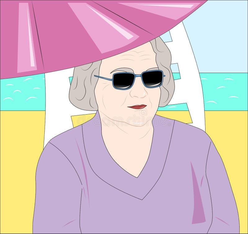 Uma senhora idosa em férias ilustração stock