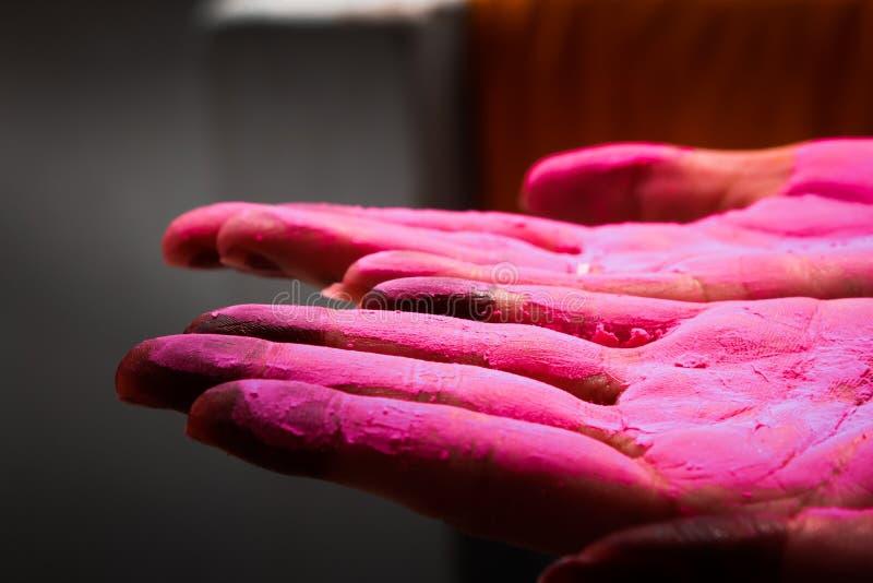 Uma senhora que indica a palma colured durante o festival do holi em india imagens de stock royalty free