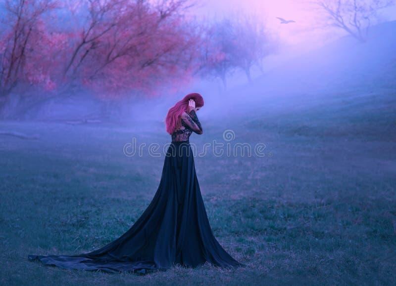 Uma senhora triste em um vestido preto infeliz vagueia na névoa Fundo de árvores e de montes do outono Um pássaro só voa A imagens de stock royalty free