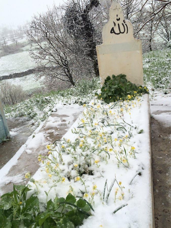 Uma sepultura sob a neve imagens de stock royalty free