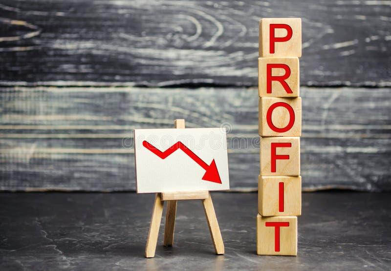Uma seta vermelha a tragar e a inscrição 'lucro ' Negócio e pobreza mal sucedidos Diminuição do lucro Perda de investimento Salár imagens de stock