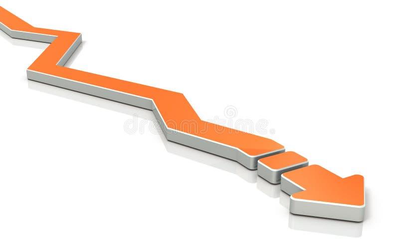 Uma seta vira o curso muitas vezes ilustração do vetor
