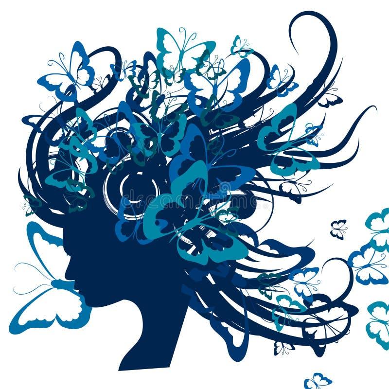 Uma silhueta abstrata de uma menina com seu cabelo fraco e que torna-se no vento ilustração do vetor