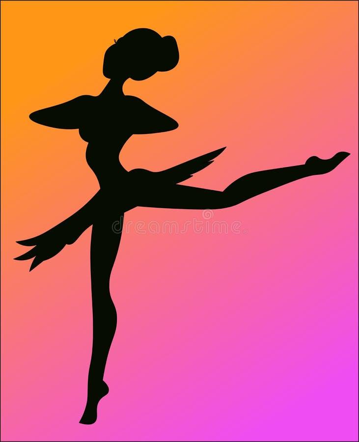 Uma silhueta da bailarina ilustração do vetor