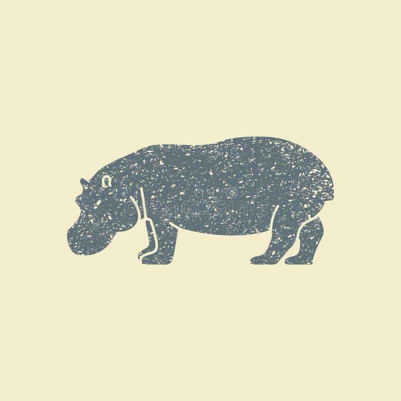 Uma silhueta de um hipopótamo ilustração stock