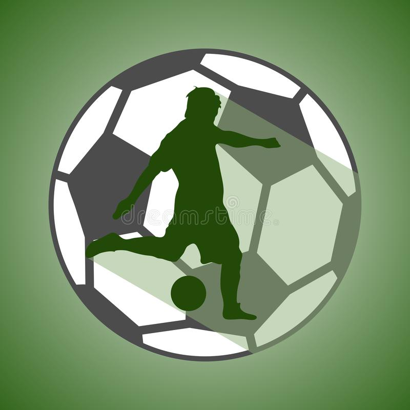 Uma silhueta do jogador de futebol e o futebol ilustração royalty free