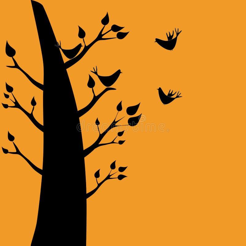 Uma silhueta dos pássaros e de uma árvore ilustração royalty free