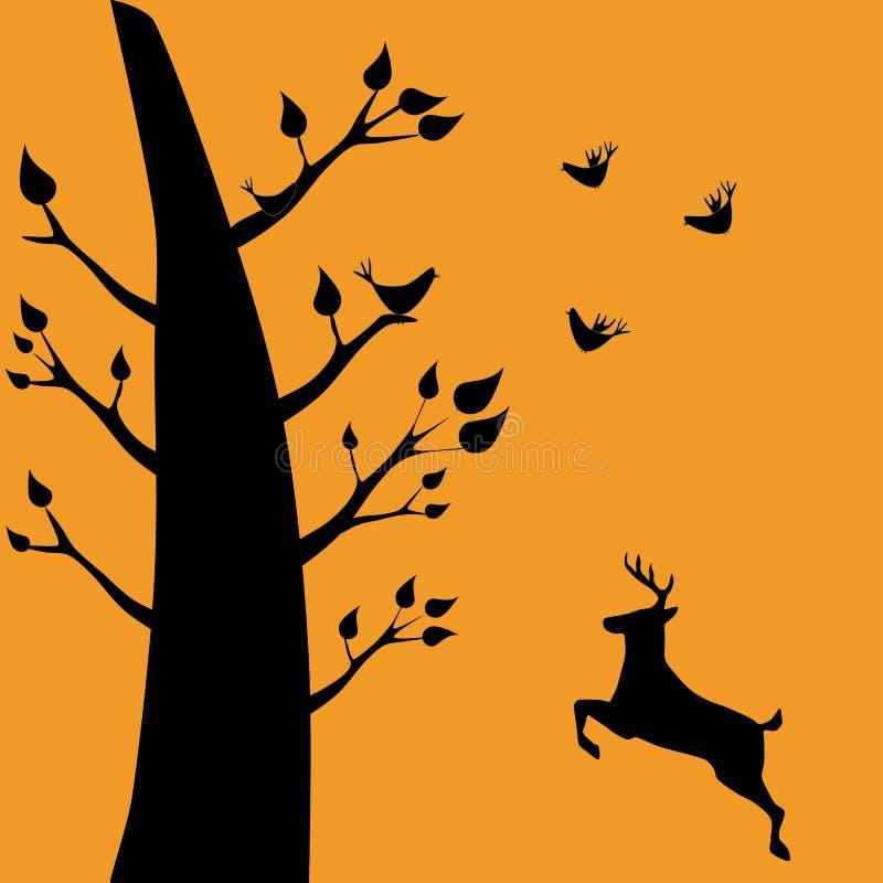 Uma silhueta dos pássaros que sentam-se nos ramos de uma árvore ilustração royalty free