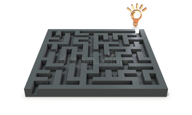 Uma solução que exista no outro lado do enigma incômodo que resolve ilustração stock