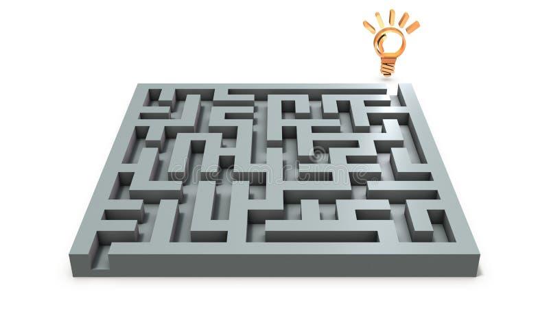 Uma solução que exista no outro lado do enigma incômodo que resolve ilustração do vetor