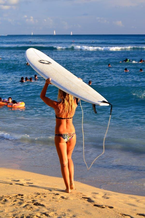 Uma surfista se prepara para entrar no oceano fotografia de stock royalty free