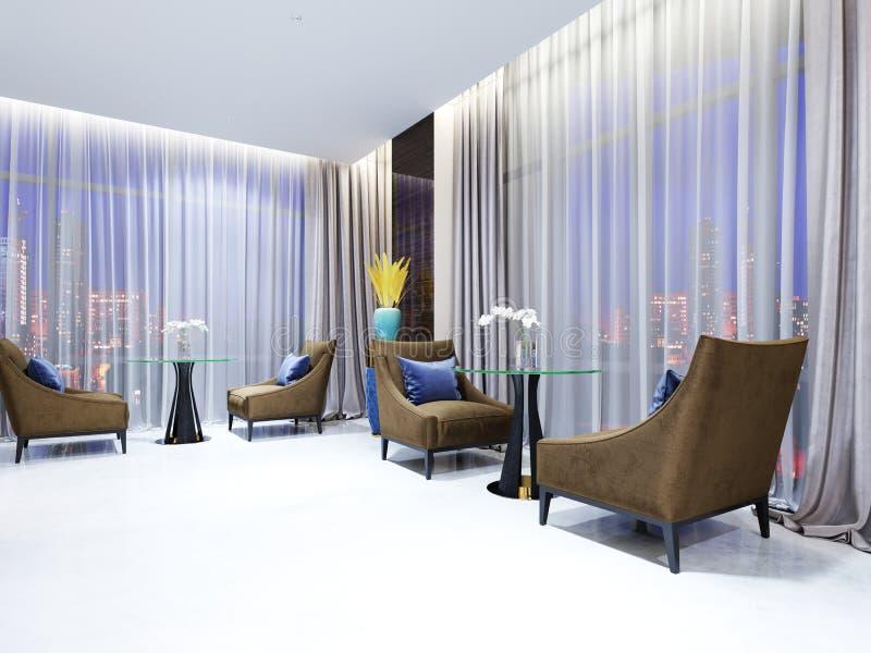 Uma tabela com as duas cadeiras fáceis na área da sala de estar do hotel Tampo da mesa de vidro, pés de madeira Poltrona da tela  ilustração stock