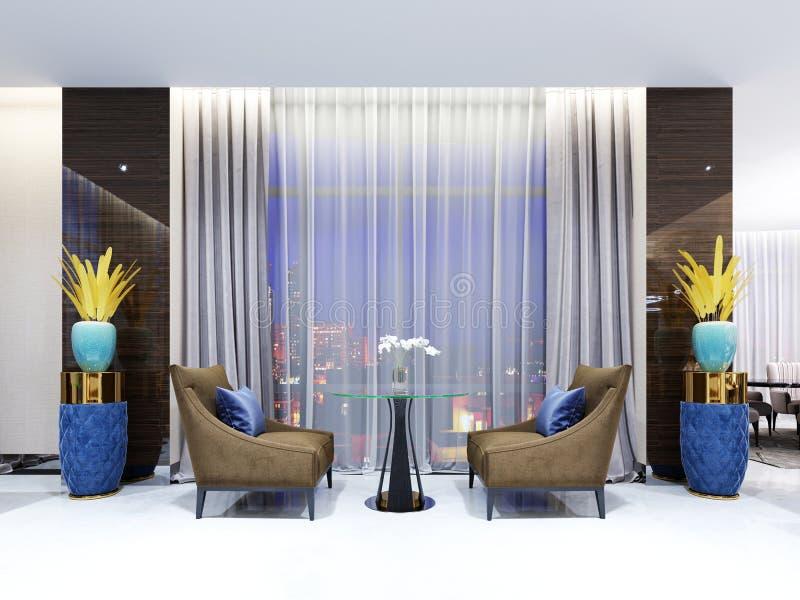 Uma tabela com as duas cadeiras fáceis na área da sala de estar do hotel Tampo da mesa de vidro, pés de madeira Poltrona da tela  ilustração do vetor