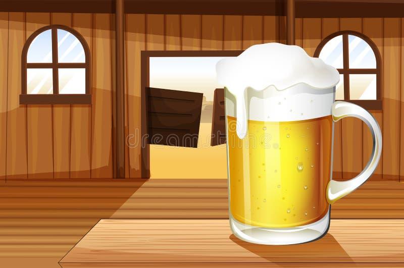 Uma tabela com uma caneca completa da cerveja ilustração royalty free