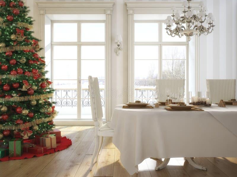 Uma tabela decorada do Natal com vidros de vinho e ilustração royalty free