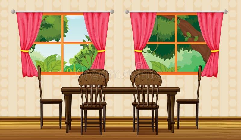 Uma tabela dinning e cadeiras ilustração stock