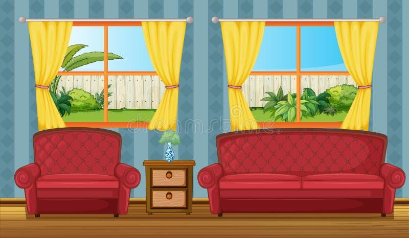 Uma tabela do sofaset e do lado ilustração royalty free