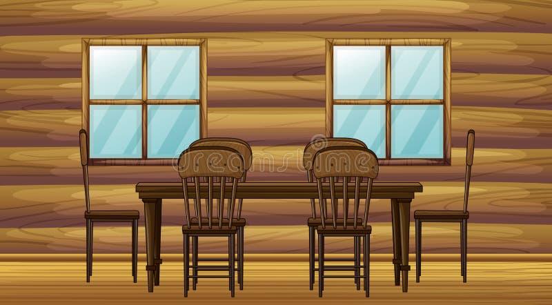Uma tabela e cadeiras ilustração stock