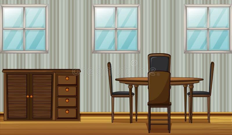Uma tabela e um vestuário dinning ilustração stock