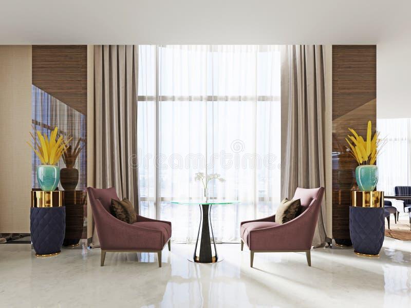 Uma tabela no restaurante para duas pessoas com as cadeiras macias Borgonha-coloridas e uma tabela de vidro ilustração royalty free