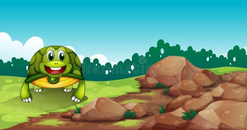 Uma tartaruga que rasteja perto das rochas ilustração stock