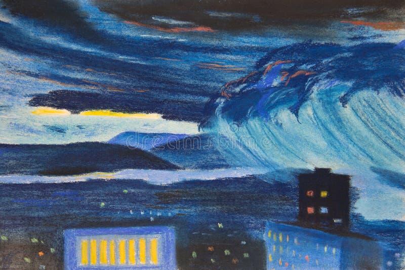 Uma tempestade está vindo à cidade ilustração royalty free