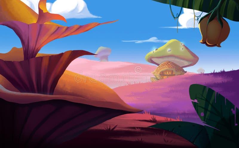 Uma terra que fantástica você quer ir Cena fantástica realística do estilo dos desenhos animados ilustração stock