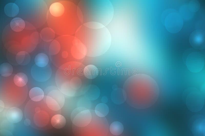 Uma textura alaranjada azul do fundo do inclina??o do sum?rio festivo com c?rculos defocused do bokeh da fa?sca do brilho Conceit imagem de stock