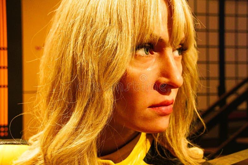 Uma Thurman en tant que jeune mariée de la mise à mort Bill dans Madame Tussauds Hollywood photo libre de droits