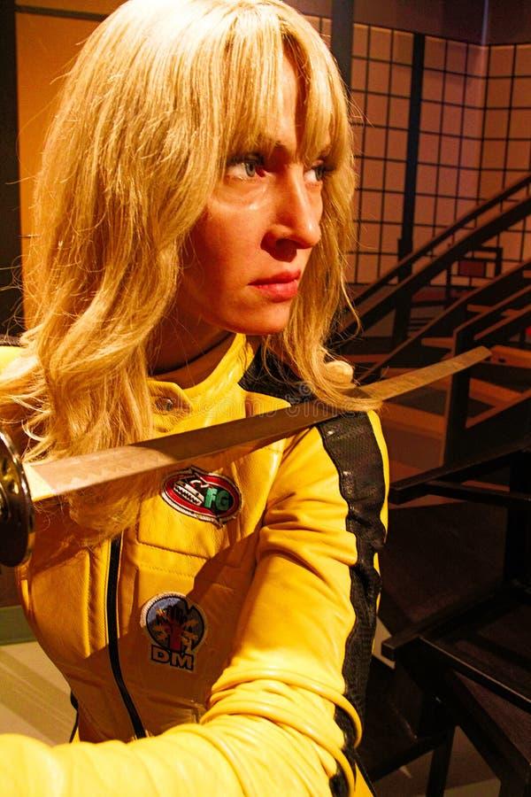 Uma Thurman en tant que jeune mariée de la mise à mort Bill dans Madame Tussauds Hollywood images libres de droits