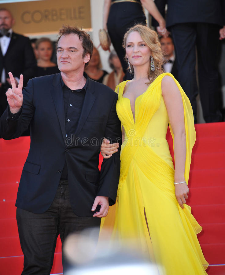 Uma Thurman et Quentin Tarantino photos stock