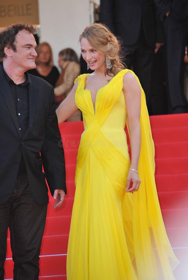 Uma Thurman et Quentin Tarantino photos libres de droits