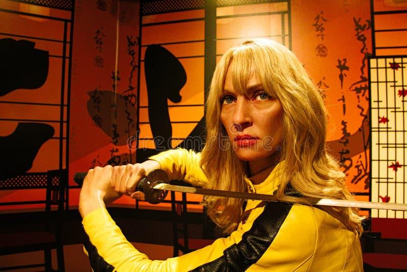 Uma Thurman jako panna młoda od zwłoki Bill w Madame Tussauds Hollywood zdjęcie royalty free