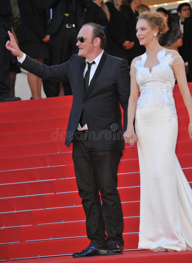 Uma Thurman & Quentin Tarantino. CANNES, FRANCE - MAY 24, 2014: Uma Thurman & Quentin Tarantino at the gala awards ceremony at the 67th Festival de Cannes royalty free stock images