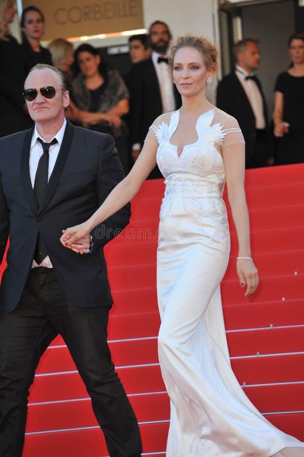 Uma Thurman & Quentin Tarantino. CANNES, FRANCE - MAY 24, 2014: Uma Thurman & Quentin Tarantino at the gala awards ceremony at the 67th Festival de Cannes stock image