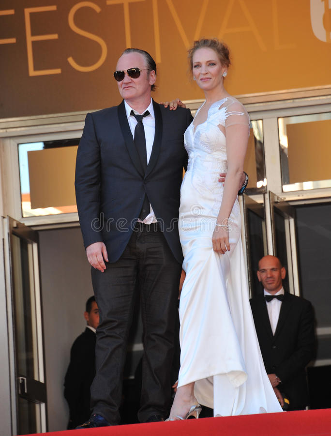 Uma Thurman & Quentin Tarantino. CANNES, FRANCE - MAY 24, 2014: Uma Thurman & Quentin Tarantino at the gala awards ceremony at the 67th Festival de Cannes stock images
