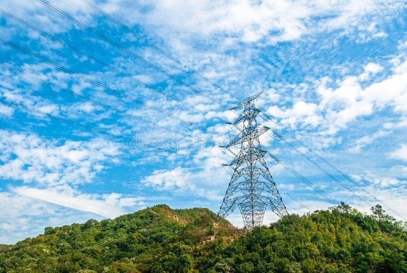Uma torre da transmissão Localizado no distrito de Yuen Long, Hong Kong imagem de stock