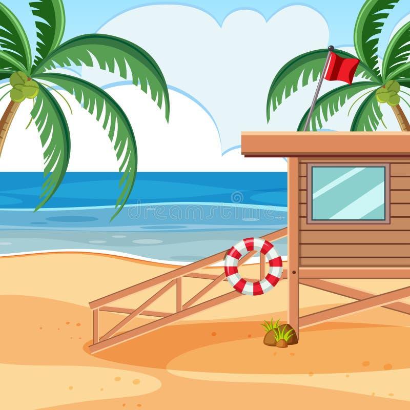 Uma torre de madeira da praia do baywatch ilustração do vetor