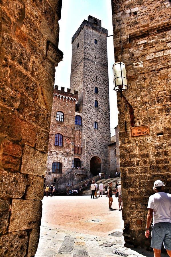 Uma torre em San Gimignano, Itália fotos de stock